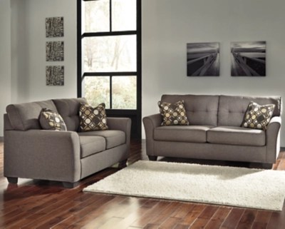 ashley leather sofas and loveseats how to clean sofa cushion covers loveseat sets furniture homestore large tibbee rollover