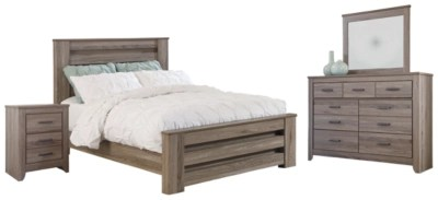 Zelen Queen Panel Bed With Dresser Mirror And Nightstand Ashley Furniture Homestore