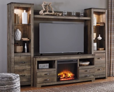 media center living room lounge chair canada trinell 4 piece entertainment ashley furniture homestore large with fireplace rollover