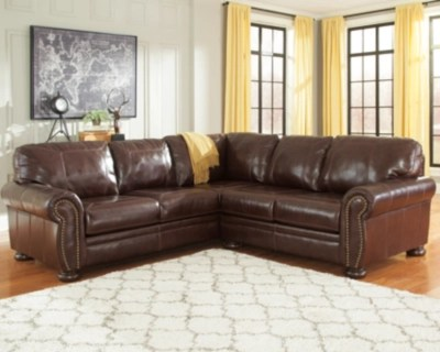 2 piece brown leather sofa sectional family room banner ashley furniture homestore coffee large