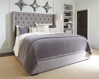 large sorinella queen upholstered bed gray rollover ashley exclusive