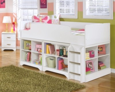 Lulu Twin Loft Bed with 2 Bookcases  Ashley Furniture