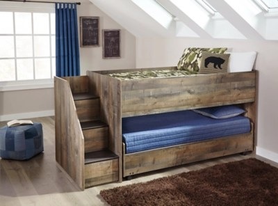 Trinell Twin Loft Bed With Pull Out Caster Bed Ashley Furniture Homestore