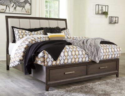 Brueban Queen Panel Bed With 2 Storage Drawers Ashley Furniture Homestore