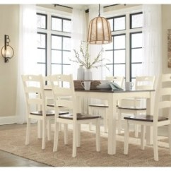 Table And Chairs With Bench Wooden Folding For Rent Dining Room Sets Move In Ready Ashley Furniture Homestore Large Woodanville Set Of 7 Rollover