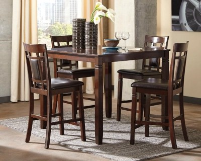 ashley furniture dining room chairs rolling chair mats for hardwood floors bennox counter height table and bar stools set of 5