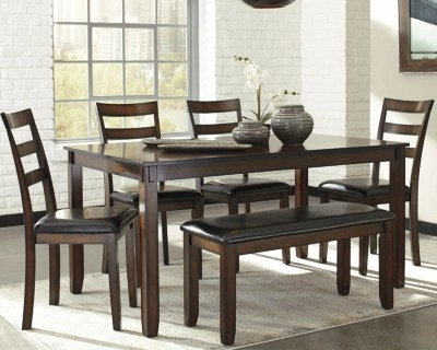 kitchen table with bench and chairs cute curtains coviar dining room set of 6 ashley large
