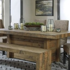 Farmhouse Table And Chairs With Bench Gracious Living Dining Room Tables Ashley Furniture Homestore Large Sommerford Rollover