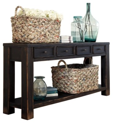 Ashley Furniture Sofa Table Gavelston Black T7324  64W x 15D x 30H New  eBay