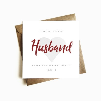 Personalised Anniversary Card - Husband
