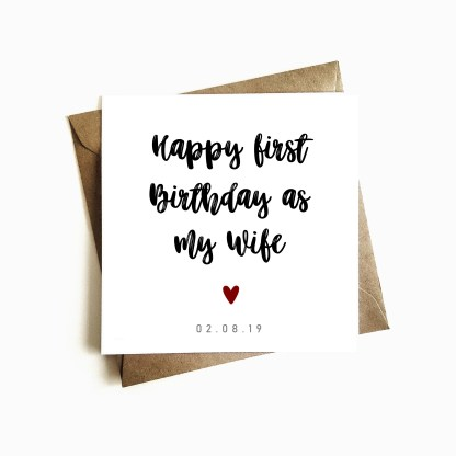 First Birthday as my Wife Birthday Card