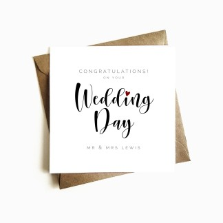 Personalised Wedding Day Card - Couple