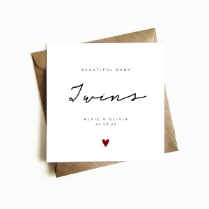 Personalised New Baby Card - Twins