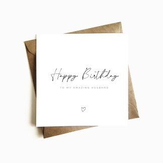 Minimalist Husband Birthday Card