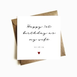 Personalised 'Happy First Birthday as my Wife' Card