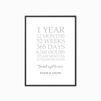 First Anniversary Personalised Print