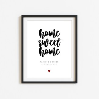 'Home Sweet Home' Personalised Print