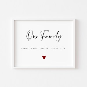 'Our Family' Personalised Print