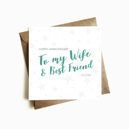 Personalised 'Wife and Best Friend' Anniversary Card