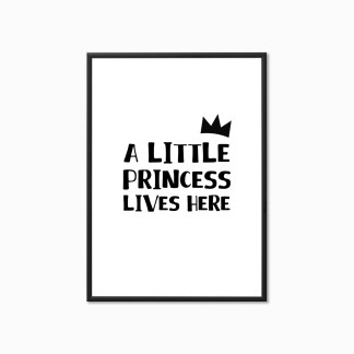 'A Little Princess Lives Here' Nursery Print