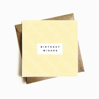 Deco Birthday Card - Pastel Yellow