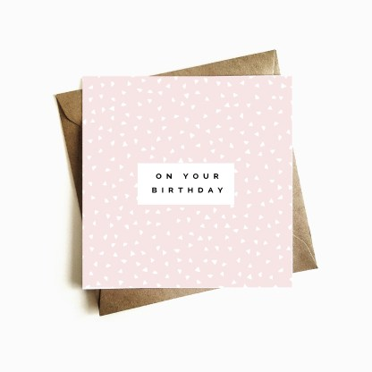 Deco Birthday Card - Blush Pink