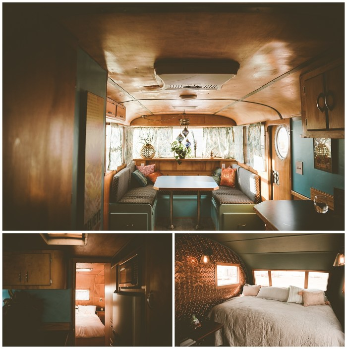 Interior of Airstream at Hotel Luna Mystica in Taos New Mexico