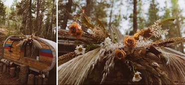 Teardrop trailer decorated with flowers at Treehaus Colorado | Wedding portraits | Elopement portraits | Bride and groom elopement photos | Elopement wedding photos in Colorado | Colorado wedding photos | Colorado elopement photos | Elopement at Treehaus, Colorado |  Treehaus Colorado | Colorado elopement | Treehaus elopement | Colorado elopement venue | Colorado mountain elopement venue | Unique elopement venue | Elopement venue in Colorado | Ashley Joyce Photography 2020