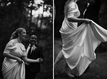 Black and white wedding photo of bride and groom dancing in slow motion in front of a teardrop trailer at Treehaus CO | Treehaus Colorado | Wedding portraits | Elopement portraits | Bride and groom elopement photos | Elopement wedding photos in Colorado | Colorado wedding photos | Colorado elopement photos | Elopement at Treehaus, Colorado |  Treehaus Colorado | Colorado elopement | Treehaus elopement | Colorado elopement venue | Colorado mountain elopement venue | Unique elopement venue | Elopement venue in Colorado | Prea James Bridal | Prea James wedding dress |  Lovely Bride Denver | Ashley Joyce Photography 2020