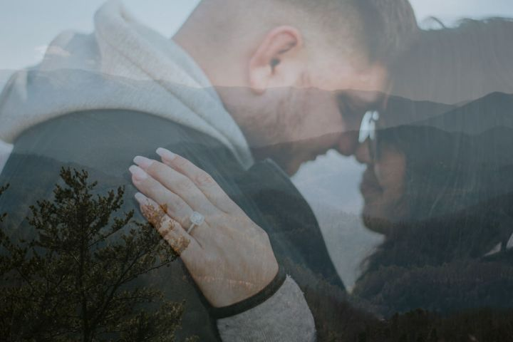 Surprise Proposal Mountain top proposal foothills parkway great smoky mountains national park by ashley leffew photography