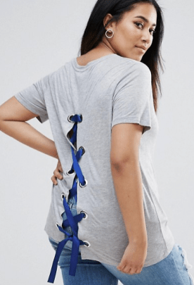 ASOS Curve | ASOS CURVE T-Shirt with Lace Up Back Detail Safari, Today at 19.16.44
