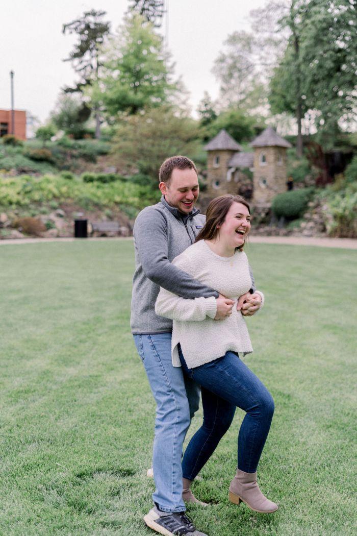 Fun Outdoor Engagement Photos at Grotto Gardens in Dayton, Ohio