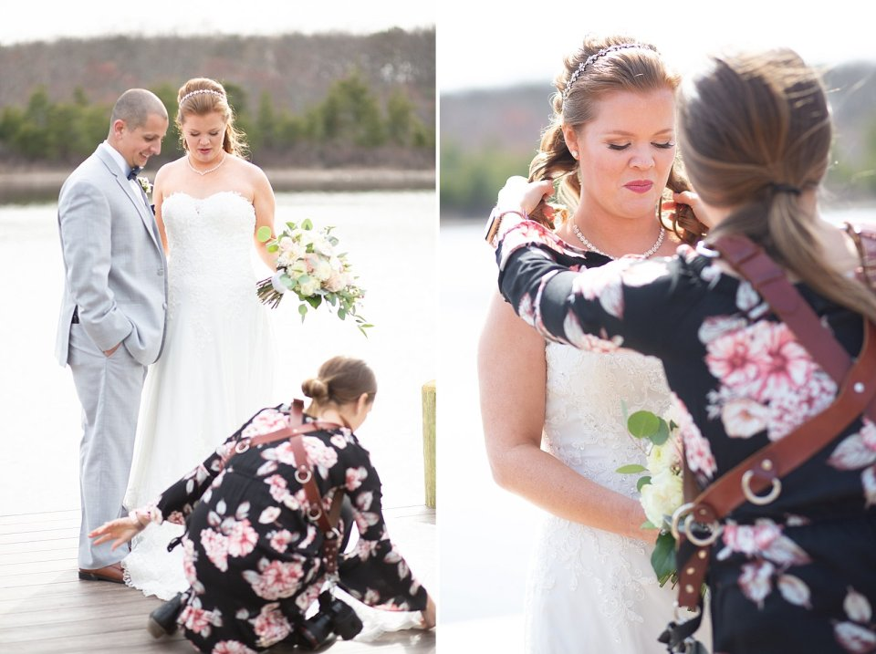 Always gotta fix a bride's dress and hair, am I right?!