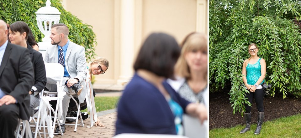 You know just hiding in the bushes and playing peek a boo before the ceremony starts… totally normal.