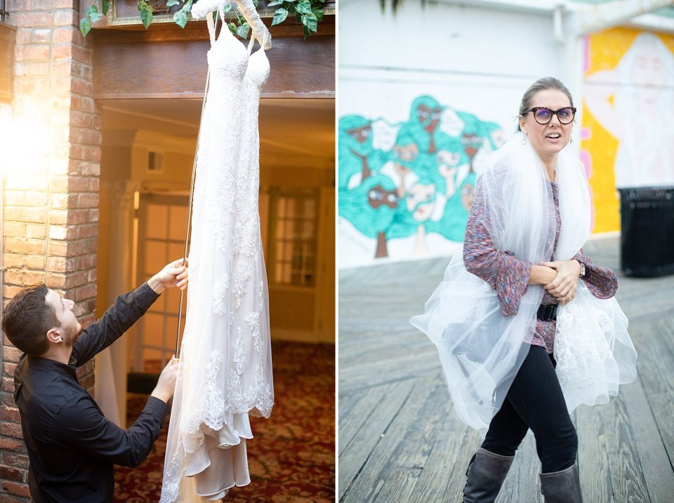 Pro Tip #3: Invest in a dress hook! It will change your life. And Pro Tip #4: Hiding under a veil on the boardwalk is probably not going to keep you super warm…