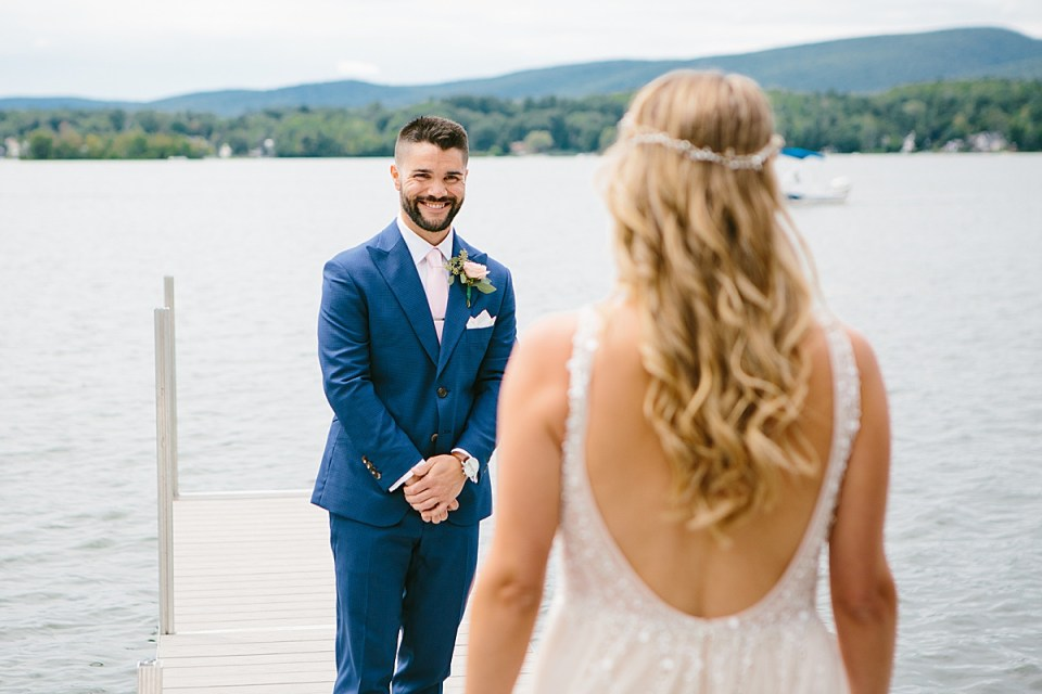 groom sees bride for the first time at Lake House in MA with Ashley Mac Photographs