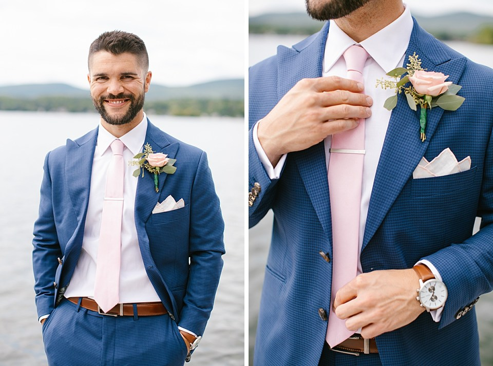 navy and blush details for the groom for lakeside wedding photographed by Ashley Mac Photographs