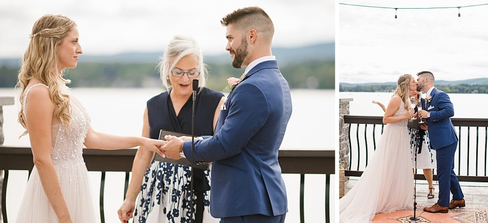 personalized wedding ceremony at Lanesboro MA Lake House with Ashley Mac Photographs