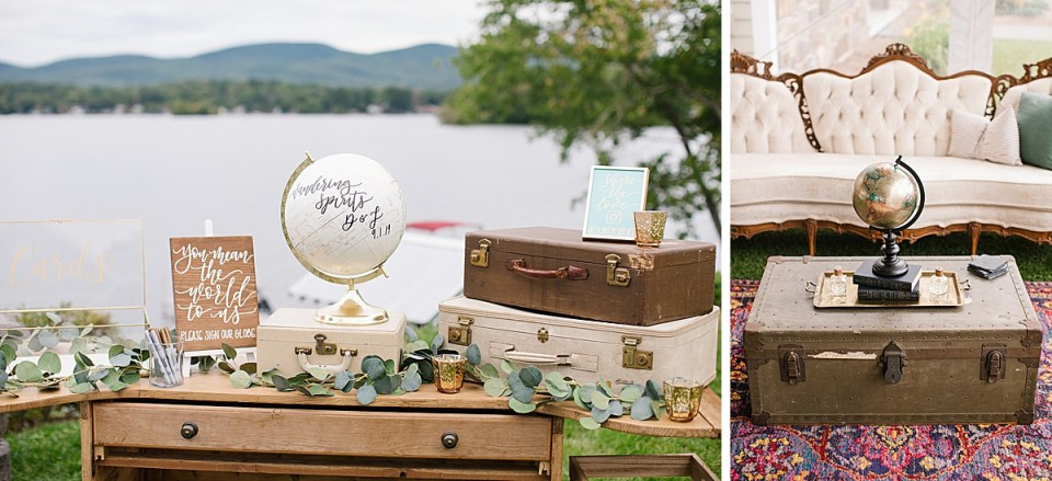 travel inspired wedding details photographed by Ashley Mac Photographs