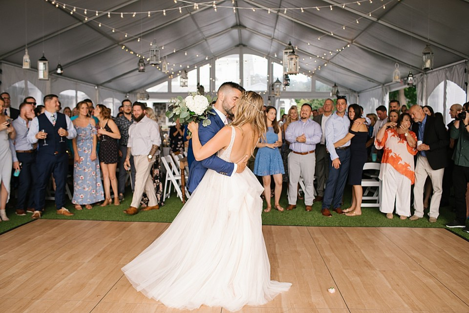 bride and groom's first dance at Lake House photographed by Ashley Mac Photographs