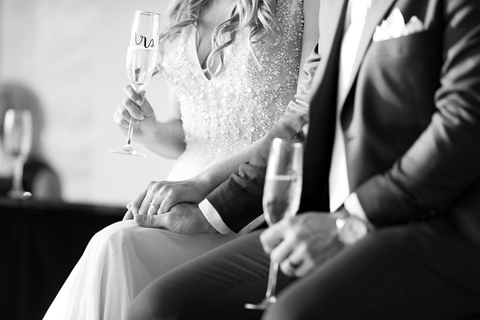 bride and groom during toasts at wedding reception photographed by MA wedding photographer Ashley Mac Photographs