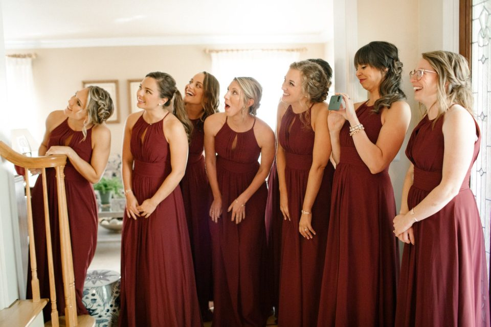 bridesmaids first look photographed by Ashley Mac Photographs
