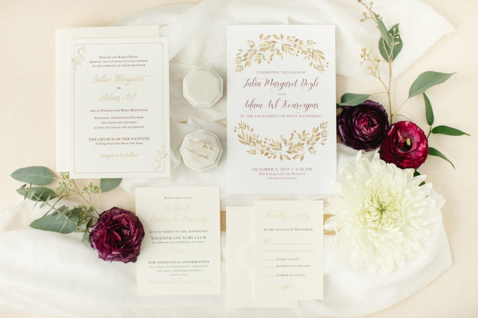 NJ wedding day invitations photographed by Ashley Mac Photographs