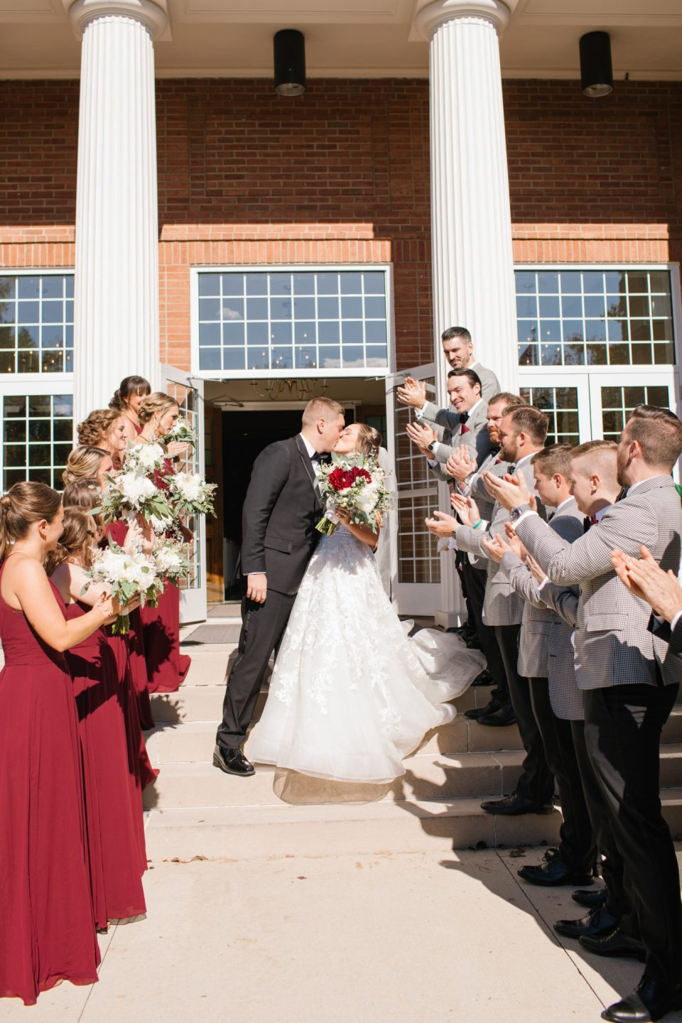 church exit for NJ wedding day photographed by Ashley Mac Photographs
