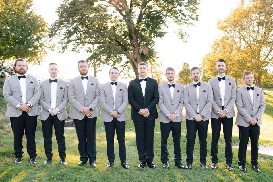 groomsmen in grey suits photographed by Ashley Mac Photographs