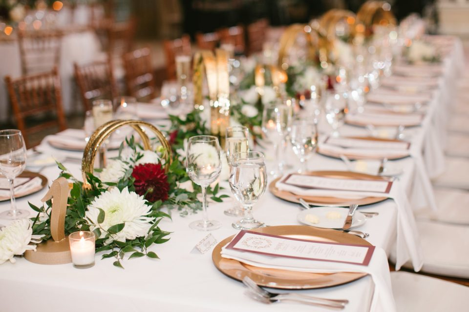 Navesink Country Club wedding reception details with gold and burgundy