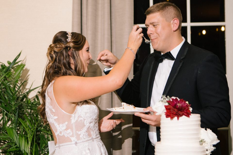 cake cutting at NJ wedding reception with Ashley Mac Photographs