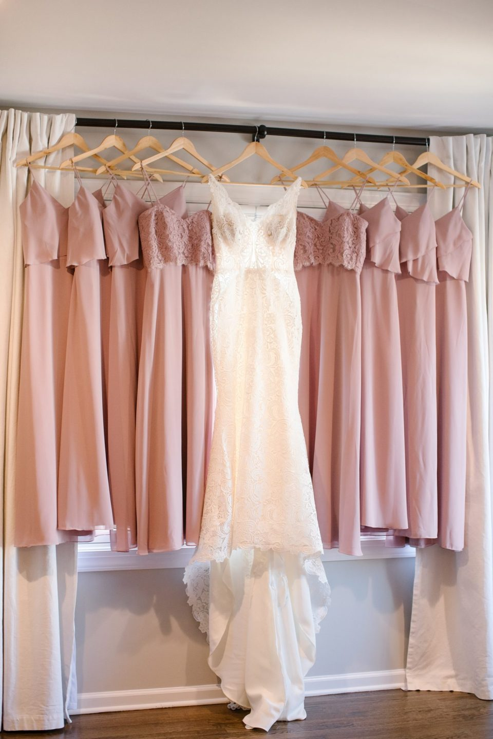 pale pink bridesmaid gowns photographed before Rumson Country Club Riverhouse wedding day by Ashley Mac Photographs