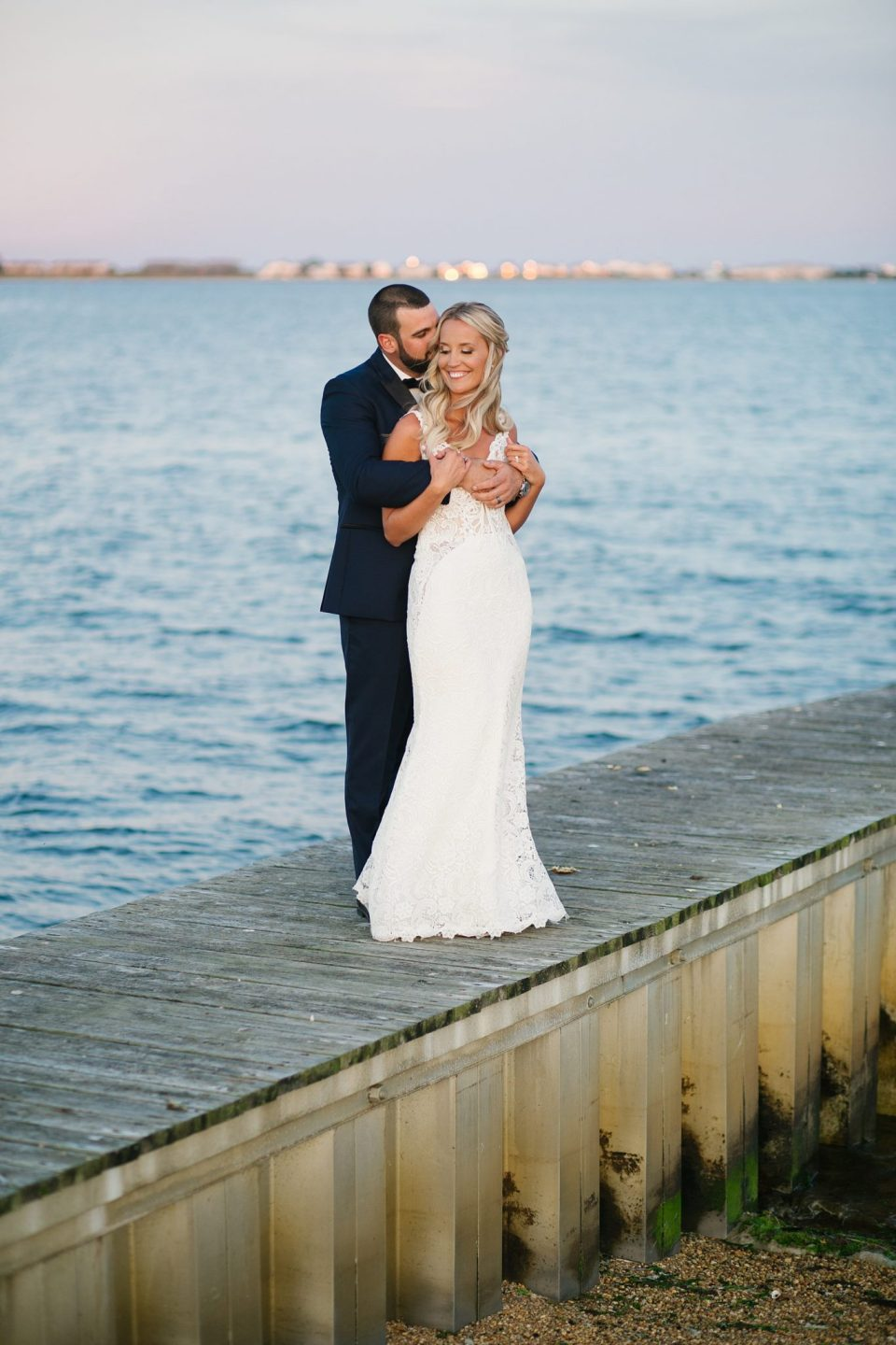 wedding portraits along the water with Ashley Mac Photographs