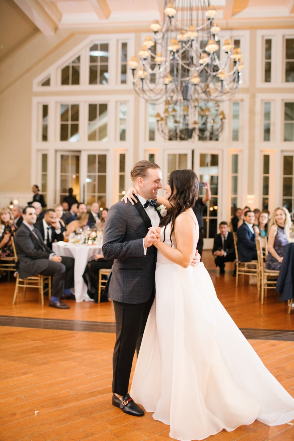 bride ad groom's first dance at Ryland Inn with Ashley Mac Photographs